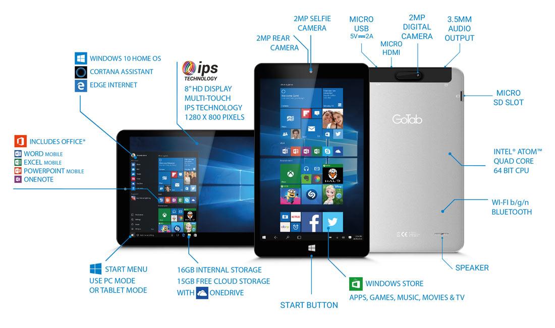 "8"" GoTab IPS Windows 10 Tablet – GW8"